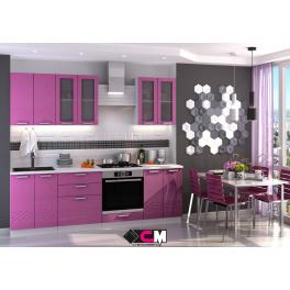 """Кухня """"Глория"""" Фиолетовый МДФ, 2,4 метра"""